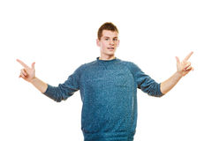 Man showing copy space pointing with fingers Royalty Free Stock Photography