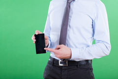Man showing data on smartphone Stock Photo