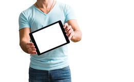 Man showing digital tablet computer screen in hands. Royalty Free Stock Image