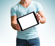 Man showing digital tablet computer screen in hands. Stock Image