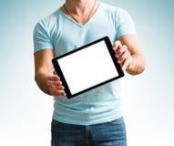 Man showing digital tablet computer screen in hands. Stock Image