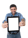 Man showing digital tablet in social network, blog, internet com Royalty Free Stock Photo