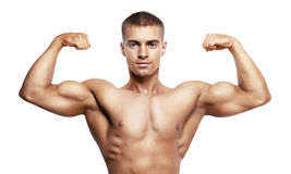 Man showing double biceps Stock Image
