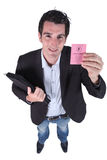 Man showing driving licence Stock Image