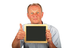 Man showing an empty black board Royalty Free Stock Photos