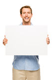 Man showing empty space white placard Stock Photo