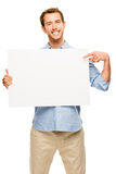 Man showing empty space white placard Stock Image