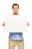 Man showing empty space white placard Royalty Free Stock Photo