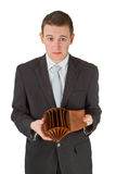Man showing empty wallet Royalty Free Stock Photography