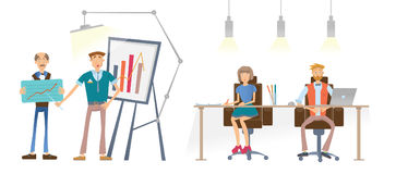 A Man is showing a financial graph. A man and a woman at the table look and listen to the speaker. Business presentation. In the office of the company. Vector Stock Images
