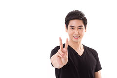 Man showing 2 finger, victory hand sign Royalty Free Stock Photos