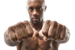 Man Showing Fists and Knuckles Royalty Free Stock Images