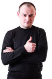 Man Showing Forefinger Royalty Free Stock Images