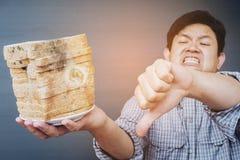 Man showing fungi bread Royalty Free Stock Image