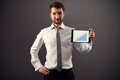 Man showing growth chart Royalty Free Stock Photography