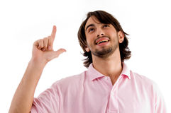 Man Showing Happiness With Hand Gesture Stock Photos