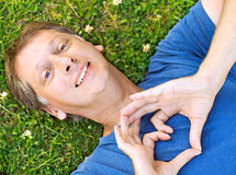 Man showing a heart Royalty Free Stock Images