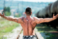 Man Showing His Back Double Biceps Royalty Free Stock Photos