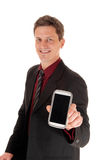 Man showing his cell phone. Royalty Free Stock Photos