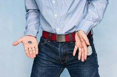 Man showing his empty pocket royalty free stock image