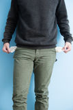Man showing his empty pockets Royalty Free Stock Photography