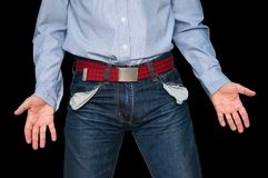 man showing his empty pockets demonstrating he has no money Stock Photography