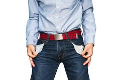 man showing his empty pockets demonstrating he has no money Royalty Free Stock Photos
