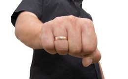 Man showing his fist on a white background.  Stock Photography