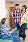 Man showing his future wife to his mother Stock Photography