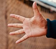 Man showing his hands with fingers. A man is showing his hands with five fingers isolated unique photo stock image