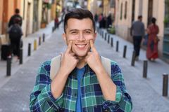 Man showing his perfect white straight smile.  royalty free stock image