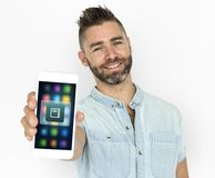 Man showing his smartphone concept Stock Image