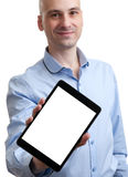 Man showing his tablet pc Stock Image