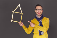Man showing house frame concept Royalty Free Stock Images