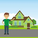 Man Showing a House Vector Stock Photography