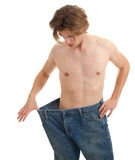 Man showing how much weight he lost Royalty Free Stock Images