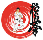 The man showing karate . Stock Images