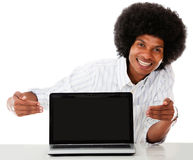 Man showing a laptop Stock Photos