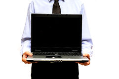 Man showing laptop Royalty Free Stock Image