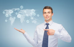 Man showing map and network on the palm of hand Royalty Free Stock Image