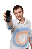 Man showing mobile Stock Photo