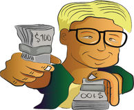 Man showing money. Illustration of a man showing a dollars of money Stock Photo
