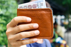 man showing money in wallet Royalty Free Stock Image