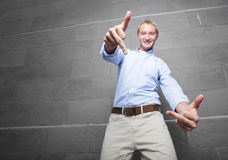 Man showing an obscene gesture Stock Photography
