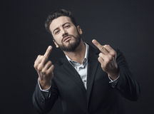 Man showing off middle finger Royalty Free Stock Photos