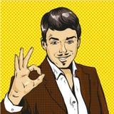 Man showing ok sign pop art comic Stock Photo