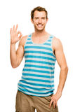 Man showing okay sign portrait on a white background Stock Photo