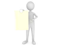 Man showing paper sheet. 3D render Stock Photos