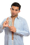 Man showing perfume cologne fragrance royalty free stock photography