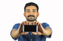 Man showing phone Royalty Free Stock Photo